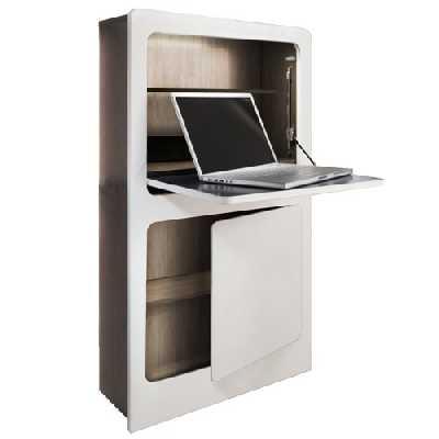 Phoenix Milano Workstation en Blanc/chêne Brut de sciage en Forme Design, Bois, Naturel, 81 x 128,5 x 20 cm