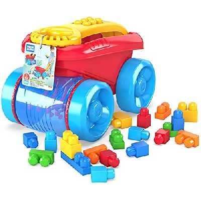 Mega Bloks Mon Wagon Ramasseur de Blocs rouge, briques et jeu de construction, 20 pièces, jouet pour bébé et enfant de 1 à 5 ans, CNG23