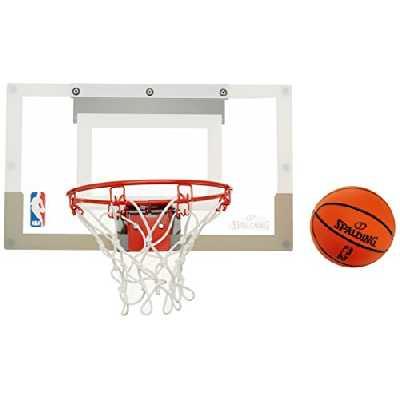 SPALDING - Mini Panier Basket NBA - Mini Ballons inclus - Maison ou Bureau - SLAM JAM BOARD TEAMS (56-100CN), Mixte Adulte, Noir (Transparent), Taille unique