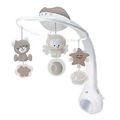 Infantino mobile musical 3 en 1 gris - Mobile transformable en projecteur et en veilleuse avec mode réveil, 6 mélodies intégrées, et 4 sons nature