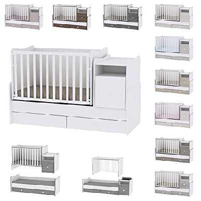 Lit bébé évolutif/ combiné Trend Plus blanc Lorelli (Le lit se transforme en : lit d'adolescent, bureau, armoire multi-fonction)