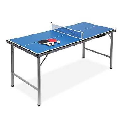 Relaxdays Table de ping-pong midi de table, table pliante pour intérieur et extérieur, balle et palettes incluses, 150 x 67 x 71 cm, bleu