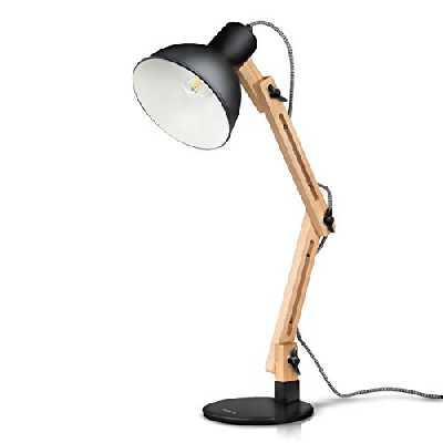 Tomons Décoration Lampe de Table LED Lampe de Bureau Salon Design Original Lampe en Bois Architecte Moderne Réglable Luminaire Industrielle à Poser, Noire