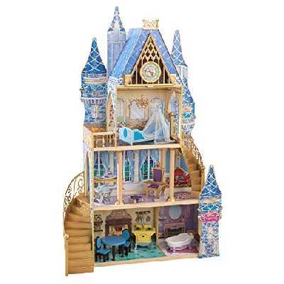 KidKraft 65400 Maison de poupées en bois Disney® Princesse Cendrillon incluant accessoires et mobilier, 4 étages de jeu pour poupées 30 cm