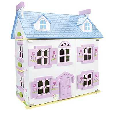 Leomark Belle Alpine Maison De Poupée en Bois avec des Meubles Et De La Famille De Poupées Couleur Rose Petite Maison Haute Qualité
