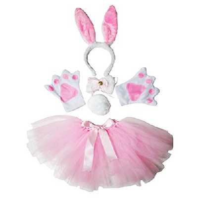 Costume de Pâques lapin rose avec serre-tête, bandeau, pattes de lapin, nœud, queue de lapin, jupe en gaze - Petitebelle -  Rose - Taille Unique