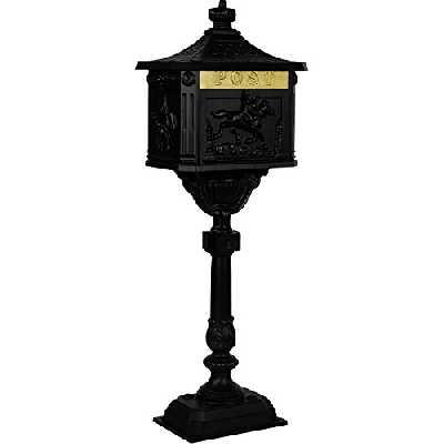 Maxstore Antique boîte aux Lettres sur Pied en Aluminium Inoxydable, Hauteur 111cm, detailreiche Décorations, 4Couleurs Noir