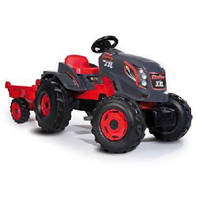 Smoby - Tracteur Stronger XXL + Remorque - Grand Tracteur à Pédales Enfant - Siège Ajustable - Volant avec Klaxon - 710200