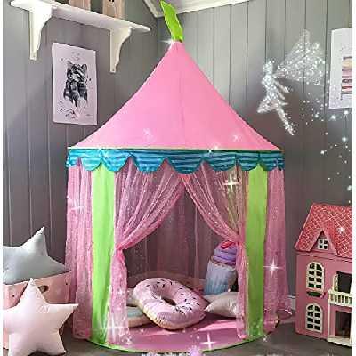 Tente de Jeu Enfant avec Sac de Transport, Château de Princesse Tente, Tipi Pop-up Portable, intérieur et extérieur, idée Cadeau, 41'' x 55'' (DxH) (Rose)