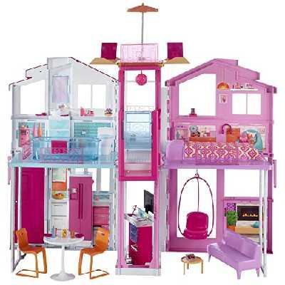 Barbie Mobilier Grande Maison de poupée de Luxe à 2 étages et 4 pièces dont cuisine, chambre, salle de bain et accessoires, jouet pour enfant, DLY32 [Exclusif Amazon]