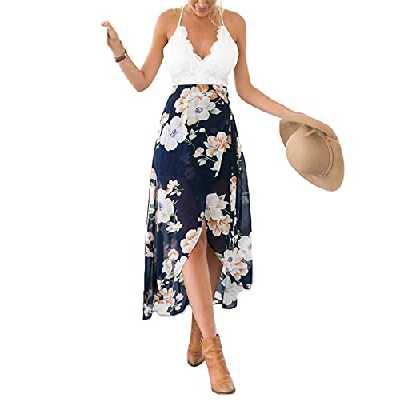 Blooming Jelly Femme Robe Floral Halter Neck V Profond asymétrique avec Dentelle,Blanc,S
