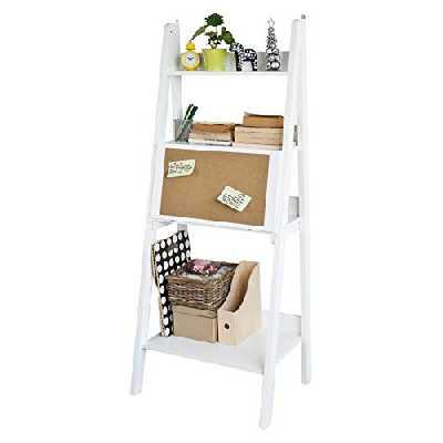 SoBuy® FRG115-W Bureau Table étagère Murale Style échelle de 3 tablettes, 1 Plan de Travail rabatable et 1 Memo Board -Blanc