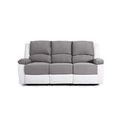 Loungitude Canapé de relaxation 3 places en PU blanc et microfibre grise