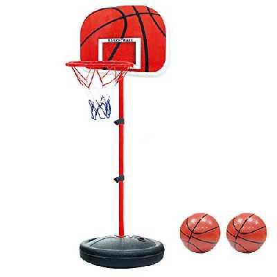 PELLOR Mini Panier de Basket Enfants avec Ballon Pompe Ajustable Mobile sur Pied Jouet Stable Portable Réglable Interieur et Extérieur