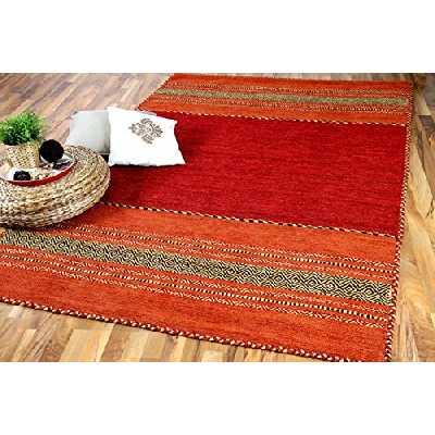 Navarro - Tapis Kilim Naturel - Rouge Orange - 8 Tailles Disponibles