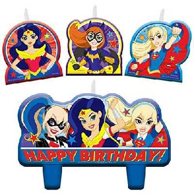 DC Comics Ensemble de bougies d'anniversaire pour fille Motif super-héros
