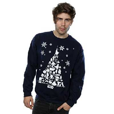 Star Wars Homme Christmas Tree Sweat-Shirt Medium Marine