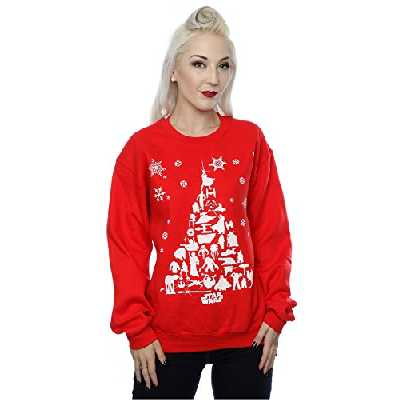 Star Wars Femme Christmas Tree Sweat-Shirt Small Rouge