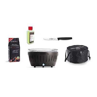 LotusGrill Barbecue XL Kit de démarrage 1 x Lotus Barbecue charbon de bois de hêtre XL anthracite 1 x 1 kg, 1 x Pâte à combustible 200 ml, 1 x couteau Giesser 11 cm avec lame crantée, 1 x XL Sacoche
