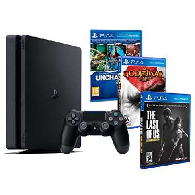 Playstation 4 PS4 Slim 1To MEGAPACK 5 Jeux - The Last of us + God of war 3 + Uncharted: The Nathan Drake Collection (3 in 1)