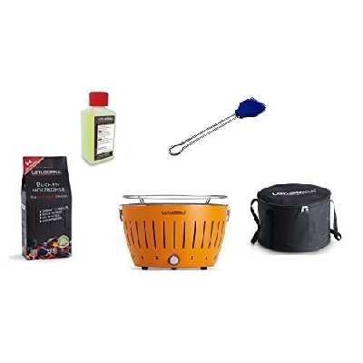 LotusGrill Barbecue Kit de démarrage 1 x Lotus Barbecue charbon de bois de hêtre Mandarine et Orange 1 x 1 kg, 1 x Pâte à combustible Bleu Outremer 200 ml, 1 x Pinceau, 1 x sac de transport