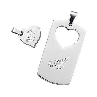 Gravado - Collier Partenaire Dog Tag - Plaque Militaire - Cœur personnalisé avec Vos [initiales] - Pendentif pour Couples en INOX - Gravure - Cadeau de Mariage - Saint Valentin - Homme - Femme
