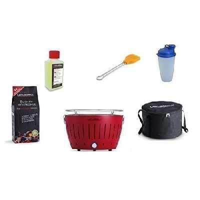 LotusGrill Barbecue Kit de démarrage 1x Lotus Barbecue charbon de bois de hêtre Rouge, 1x 1kg, 1x Pâte combustible 200ml, 1x Pinceau Orange, 1x Shaker à vinaigrette, 1x sac de transport