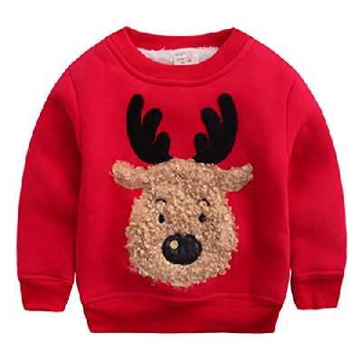 Happy Cherry - Sweat-Shirt/Sweater/Hoodie Imprimé Wapiti Bébé Enfant Unisexe pour Noël- Col Ras du Cou - 3-4 Ans Starture 100 cm- Rouge
