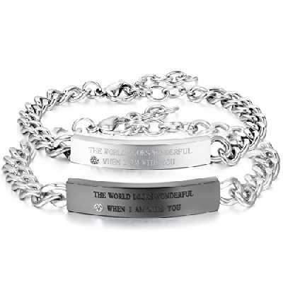 OIDEA Bijoux Fantaisie Bracelet Couple Amour Acier Inoxydable Femme Homme Amoureux Chaîne de Main Cadeau Saint Valentin Gourmette Promesse