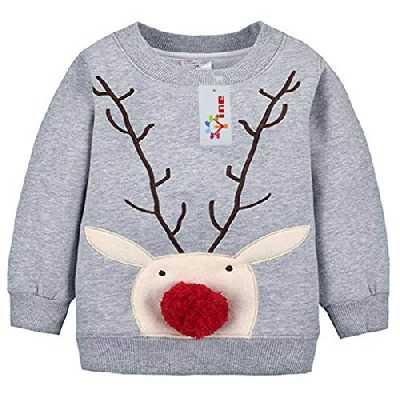 Bébé Sweat-Shirt Noël Pull-over pour Enfant Épais Sweatshirt Tops pour fille et garçon Vine 12 mois