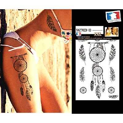 Tatouage ephemere temporaire femme DREAMCATCHER attrape rêves TATTOO ID XXL hypoallergénique Fabriqué en FRANCE 1 planches 22cm x 14,5cm Homme Femme