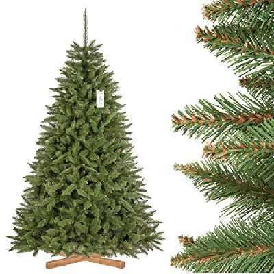 FairyTrees Sapin Artificiel de Noël, Épicéa Naturel, matériel PVC, Tronc Vert, Socle en boisr, 220cm