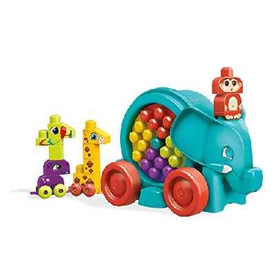 Mega Bloks La Parade de L'Eléphant bleu, jeu de blocs de construction, 25 pièces, jouet pour bébé et enfant de 1 à 5 ans, FFG21