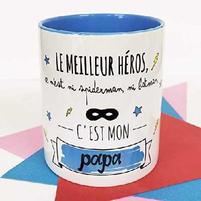 Nos pensées - Tasse avec Message et Dessin Amusant (Le Meilleur héros, ce n'est ni Spiderman, ni Batman, C'est Mon Papa) Cadeau Original pour Un Papa
