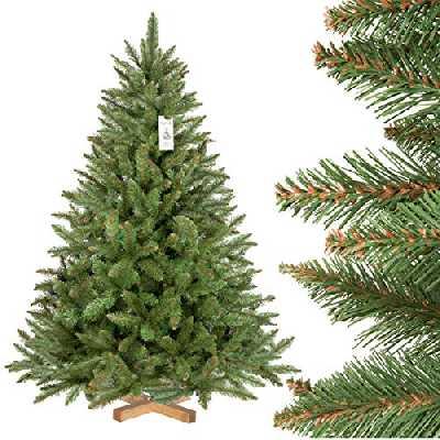 FairyTrees Sapin Artificiel de Noël, Épicéa Naturel, matériel PVC, Tronc Vert, Socle en boisr, 150cm