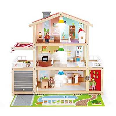 Hape Maison de Poupées, Jouet Récompensé, Maison 10 Pièces en Bois avec Accessoires pour les enfants dès 3 Ans