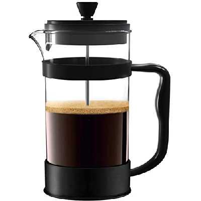 Utopia Kitchen [1,0 L/ 1000 ml] Cafetière à Piston   Français presse café - Expresso et bouilloire avec Triple filtres piston en acier inoxydable (Noir)