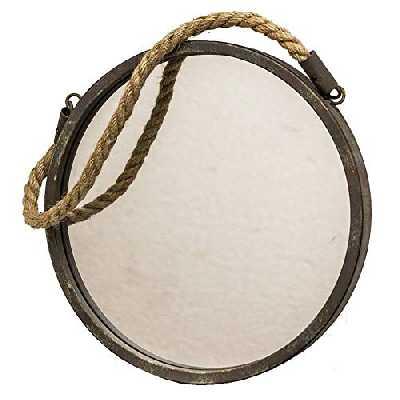L'Héritier Du Temps Miroir Glace de Forme Ronde en Fer Patine Marron Gris Vert Façon Hublot avec Anse en Corde 2,50x28x46cm