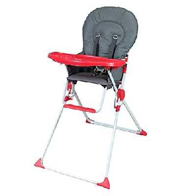 BAMBISOL - Chaise Haute Fixe Bébé, Ultra Compacte et Légère, Tablette Amovible Réglable (Gris rouge)