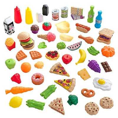 KidKraft 63510 Ensemble fruits, légumes et accessoires en plastique, dînette enfant, jeu d'imitation, 65 pièces
