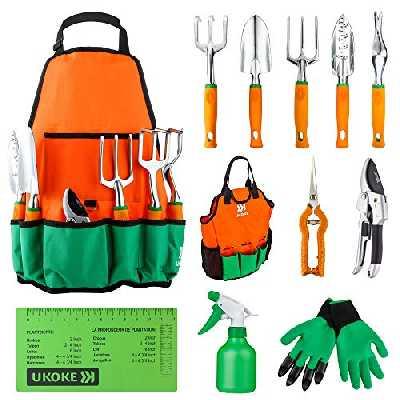 UKOKE Ensemble d'outils de jardin en aluminium avec tablier, poche de rangement et poignée ergonomique pour homme 12 Pièces Orange