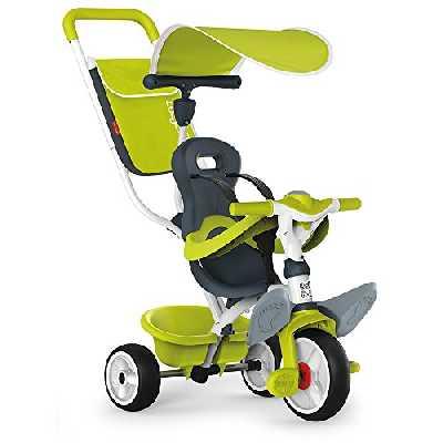Smoby - Tricycle Baby Balade Vert - Vélo Evolutif Enfant Dès 10 Mois - Roues Silencieuses - Klaxon - 741100