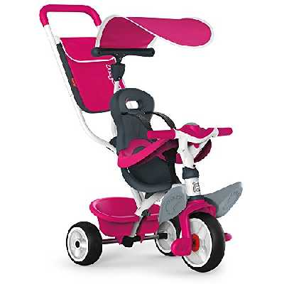 Smoby - Tricycle Baby Balade Rose - Vélo Evolutif Enfant Dès 10 Mois - Roues Silencieuses - Klaxon - 741101