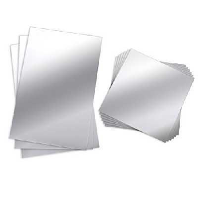 Lot de 9 feuilles autocollantes miroir BBTO flexibles, pas en verre, en matière plastique, carrelage, autocollant mural, 15 x 15 cm et 15 cm x 23 cm.