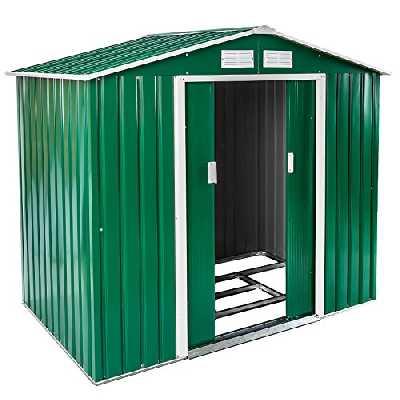 TecTake Abri de Jardin en métal cabane à Outils Rangement | + Fondation | diverses Couleurs au Choix et modèles (Type 1 | Verde | no. 402182)