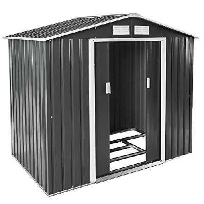TecTake Abri de Jardin en métal cabane à Outils Rangement   + Fondation   diverses Couleurs au Choix et modèles (Type 3   Gris   no. 402568)