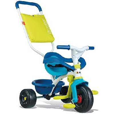Smoby - Tricycle Be Fun Confort Bleu - Vélo Enfant Dès 10 Mois - Evolutif - Canne Parentale avec Sacoche - Arceau de Sécurité - 740405
