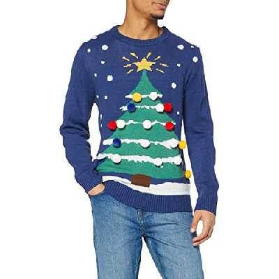 [Large] The Christmas Workshop 3D Christmas Tree Jumper, Blue, Large