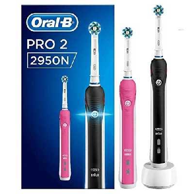 Oral-B Pro2 - 2950N - Brosse à Dents Électrique Rechargeable, 2Manches avec Capteur de Pression Visible, 2Brossettes