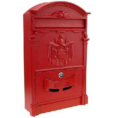 PrimeMatik - Boîte aux Lettres rétro Antique Vintage métallique coloré Rouge pour Mur